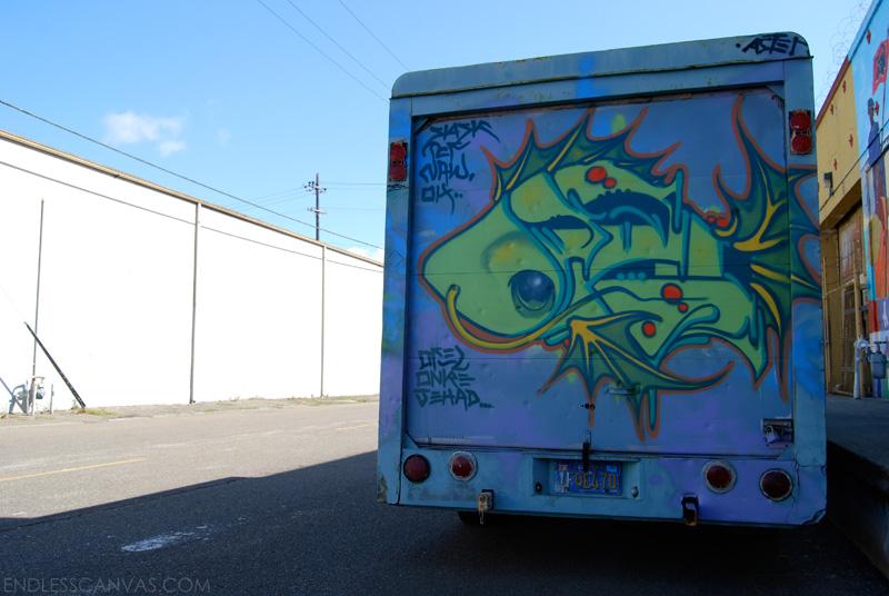 Ofel Fish Truck Graffiti - Oakland, California.
