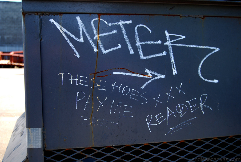 Meter Reader these hoes pay me graffiti.
