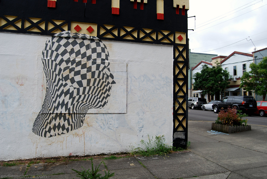 Checkered Face Wheatpaste Portland OR.