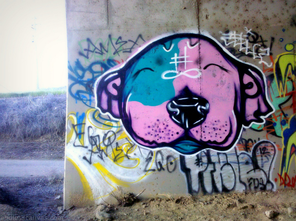 Attica Riot Dog Graffiti North Bay CA.