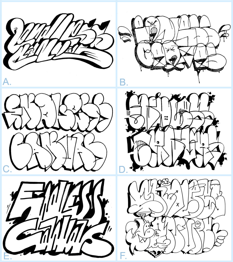 Top Six Finalists for the 2013 Endless Canvas Best Throwie Contest.