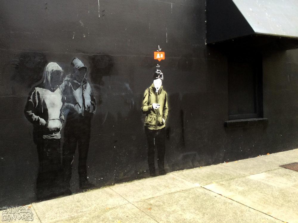 Banksy Stencil Graffiti Vancouver BC Canada.